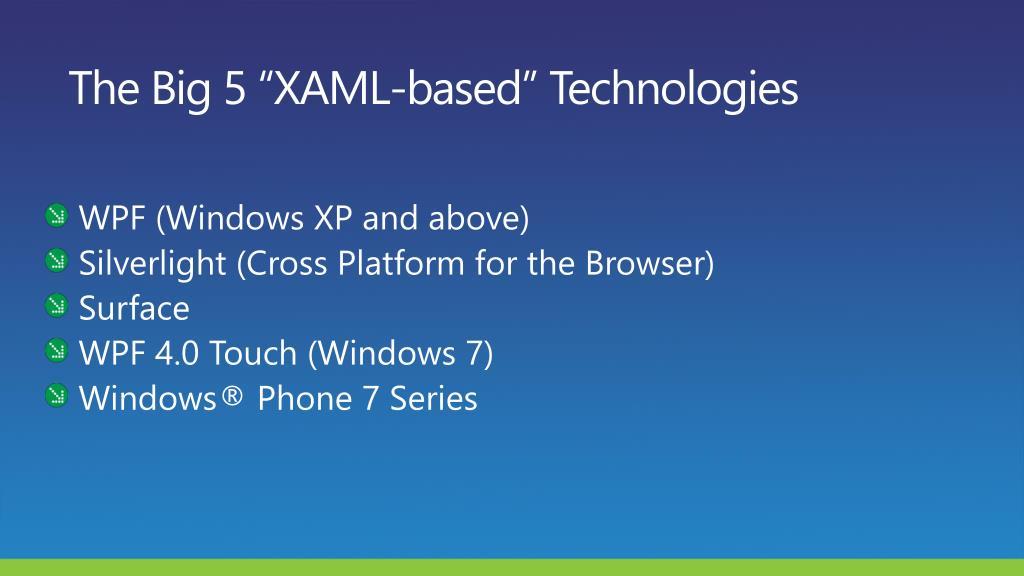 """The Big 5 """"XAML-based"""" Technologies"""