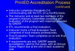 printed accreditation process continued