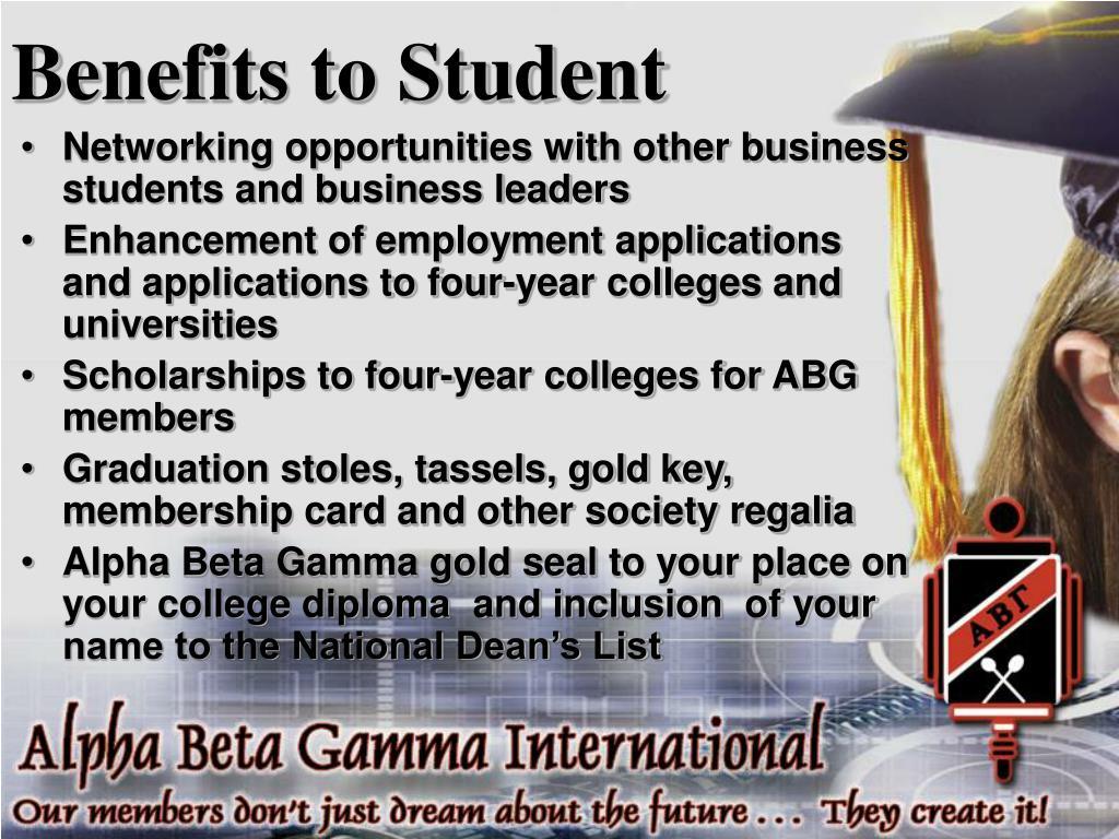 Benefits to Student