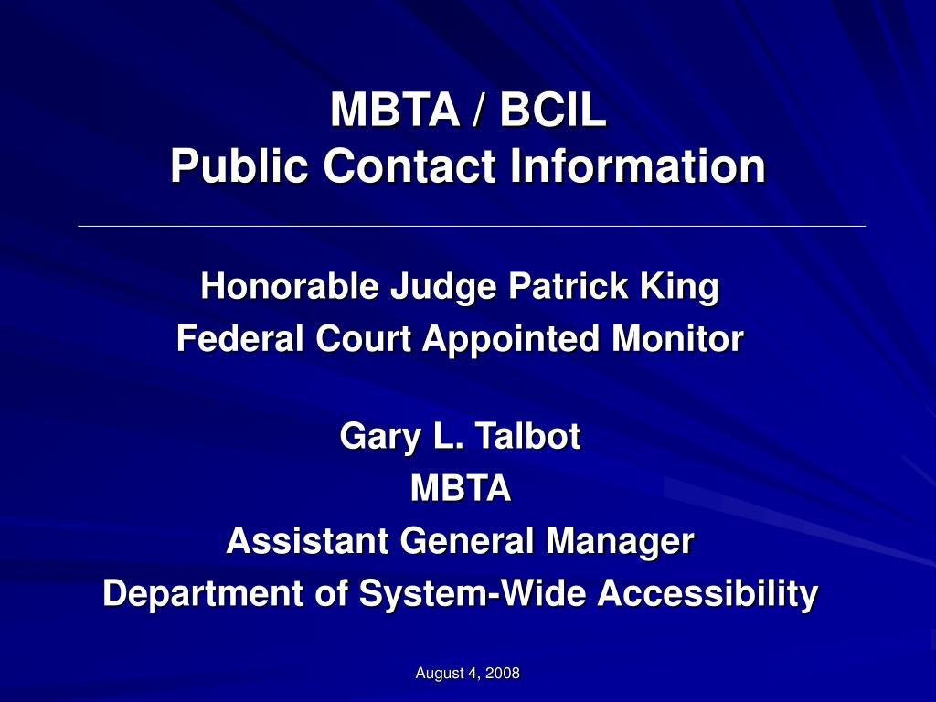 mbta bcil public contact information
