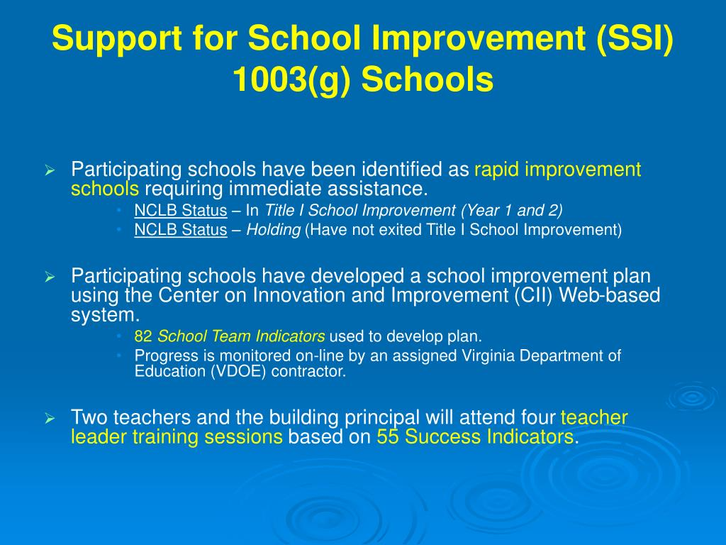 Support for School Improvement (SSI)