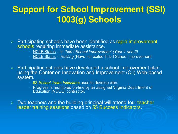 Support for school improvement ssi 1003 g schools