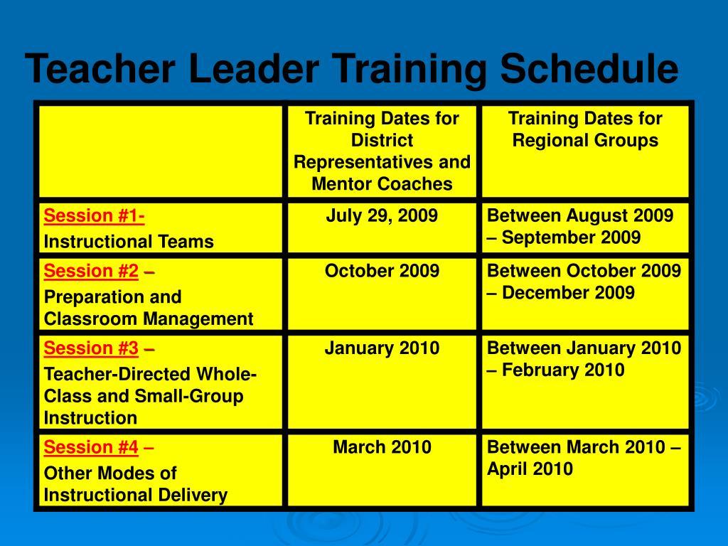 Teacher Leader Training Schedule