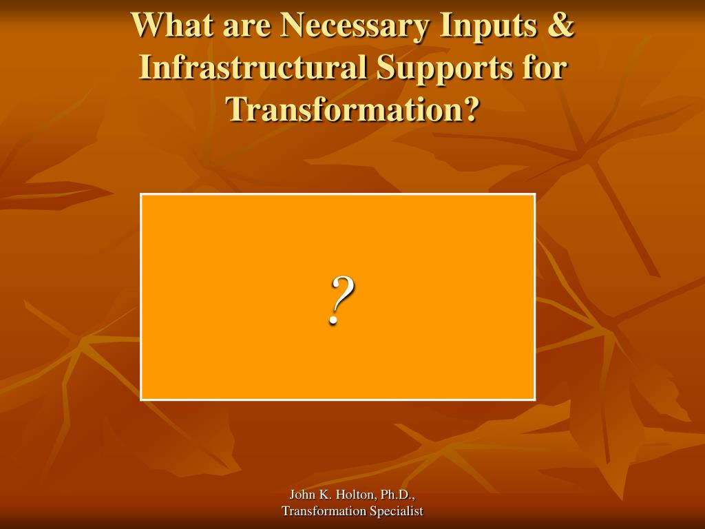 What are Necessary Inputs & Infrastructural Supports for Transformation?