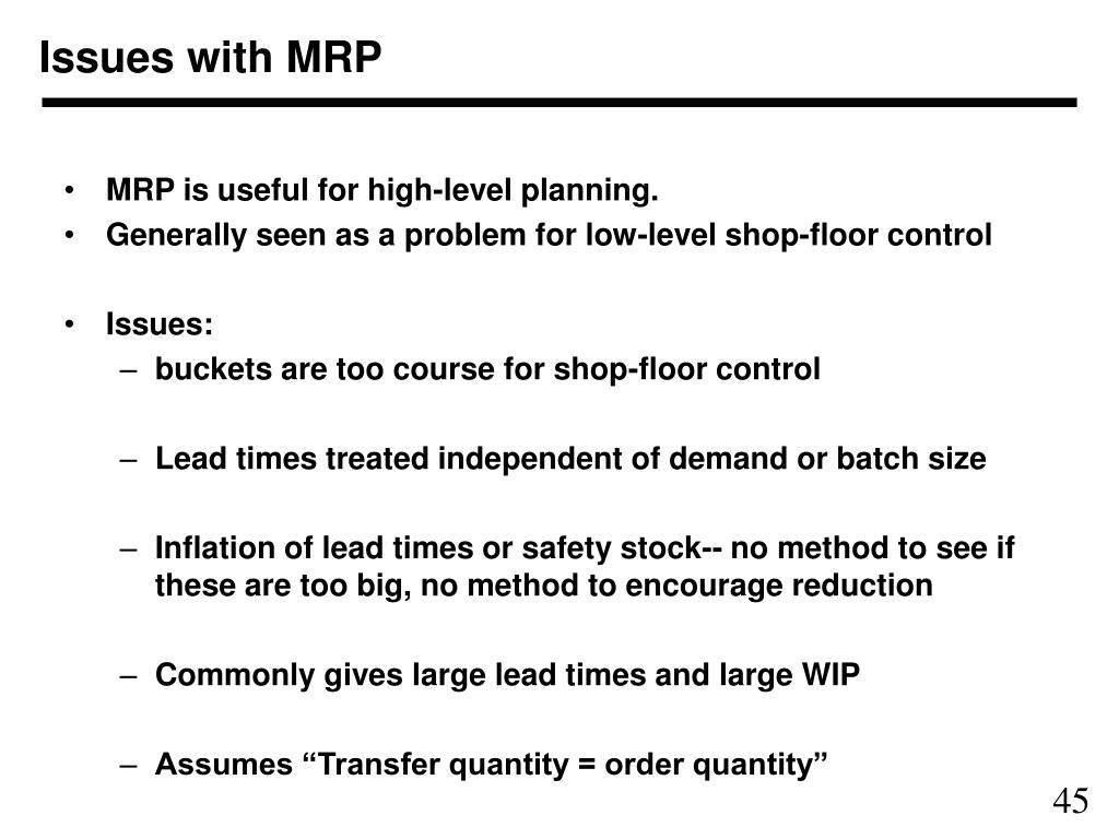 Issues with MRP