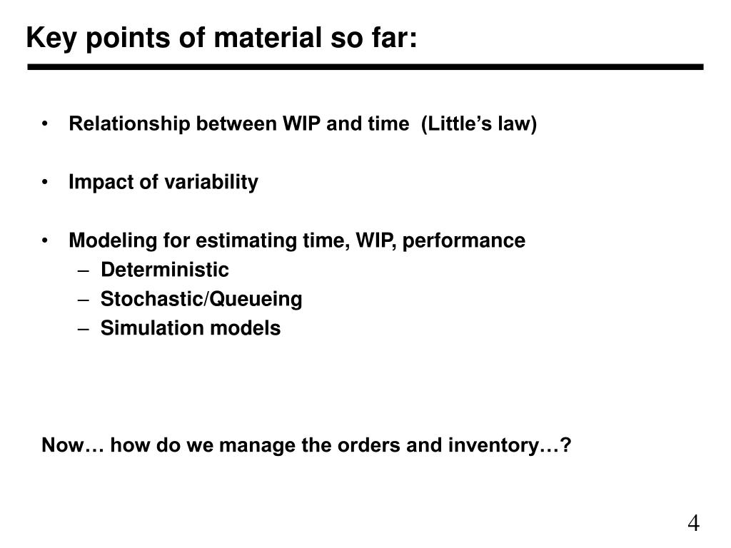 Key points of material so far: