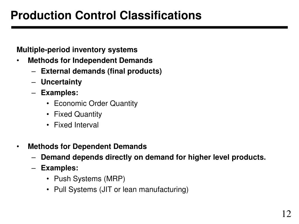 Production Control Classifications