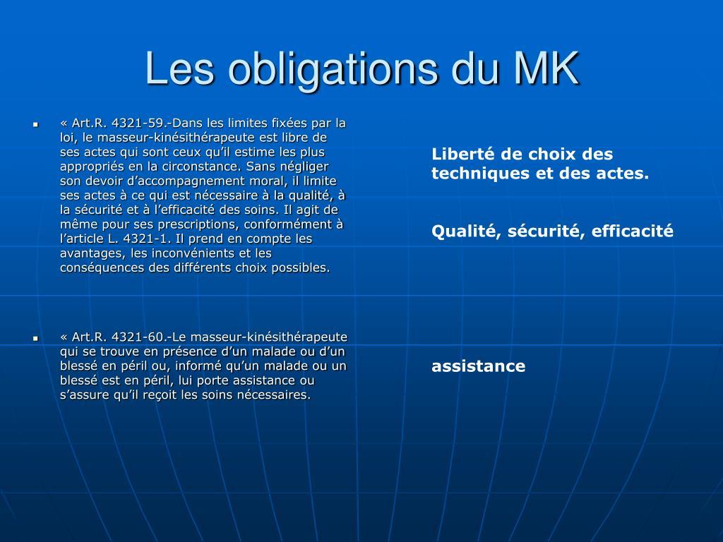 Les obligations du MK