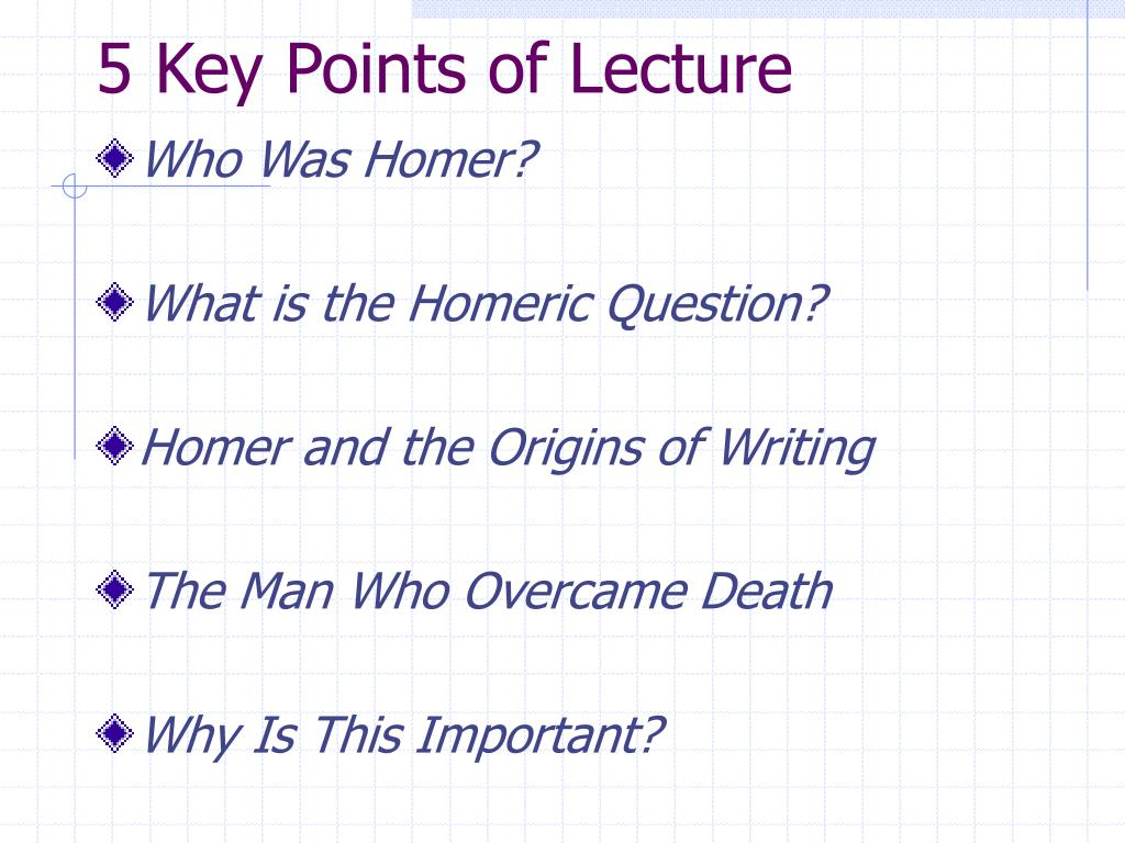 5 Key Points of Lecture