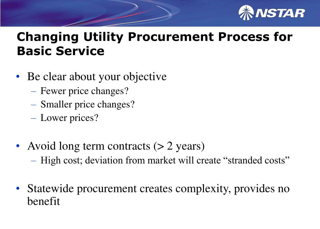 Changing Utility Procurement Process for Basic Service