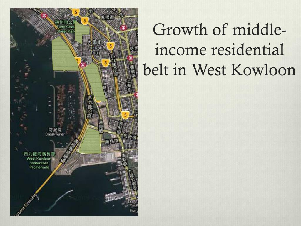 Growth of middle-income residential belt in West Kowloon