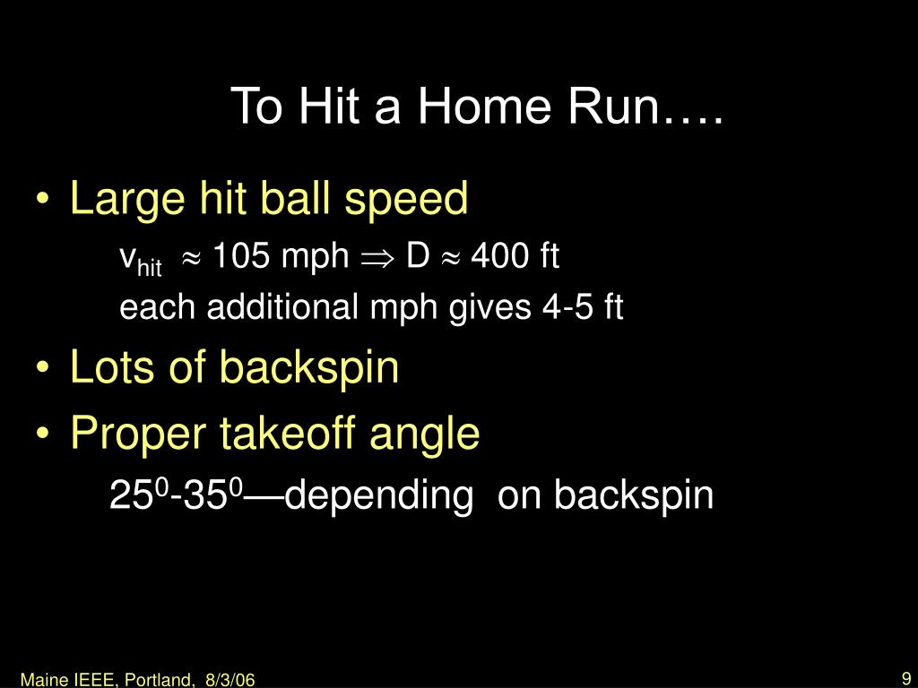 To Hit a Home Run….