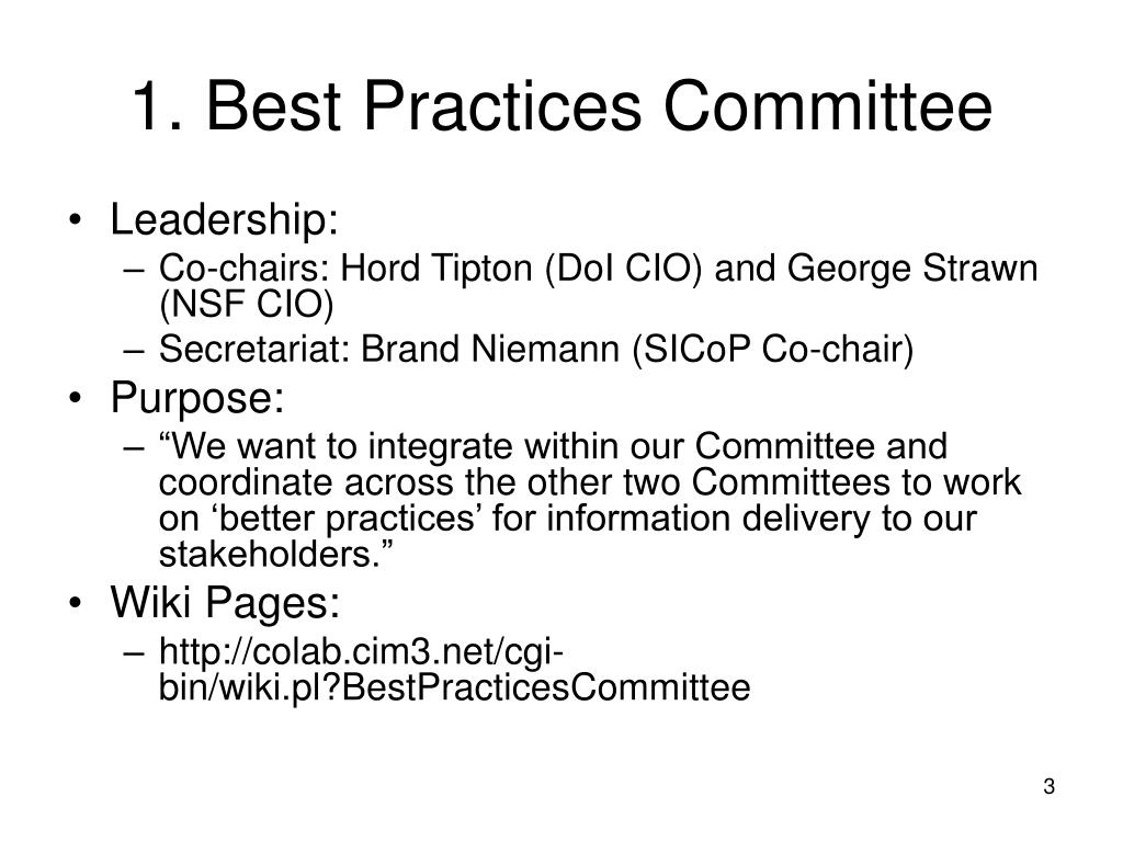 1. Best Practices Committee