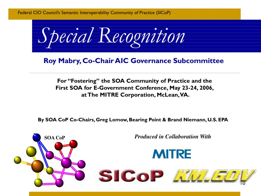 Roy Mabry, Co-Chair AIC Governance Subcommittee