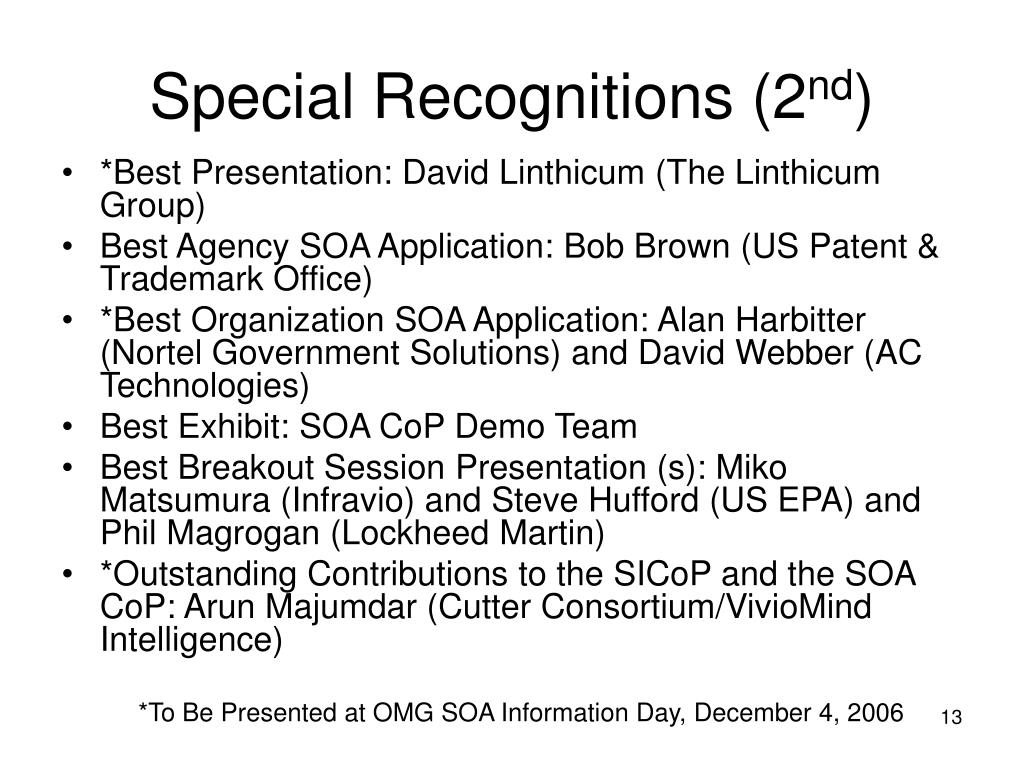 Special Recognitions (2