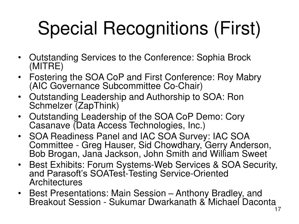 Special Recognitions (First)