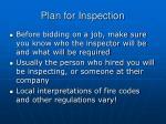 plan for inspection