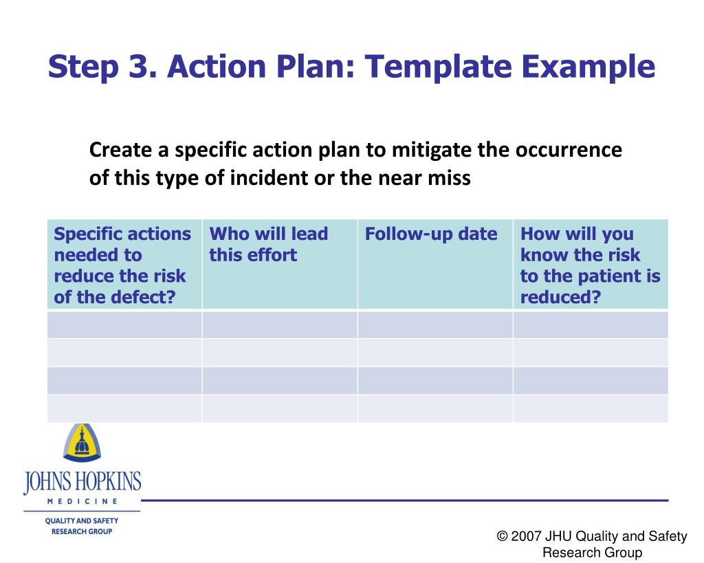 Step 3. Action Plan: Template Example