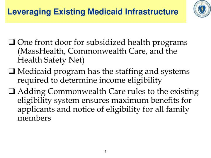 Leveraging existing medicaid infrastructure
