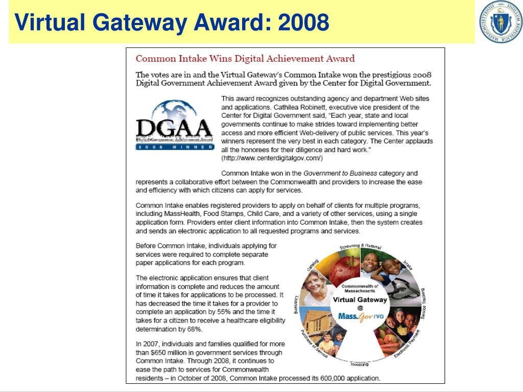 Virtual Gateway Award: 2008
