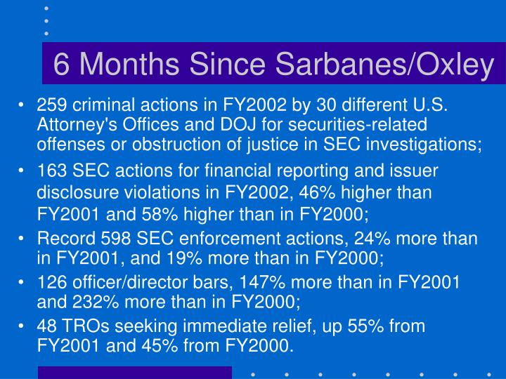 6 months since sarbanes oxley