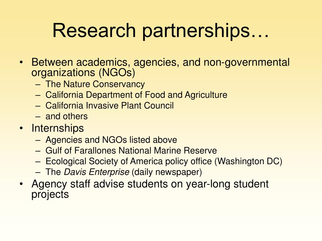 Research partnerships…