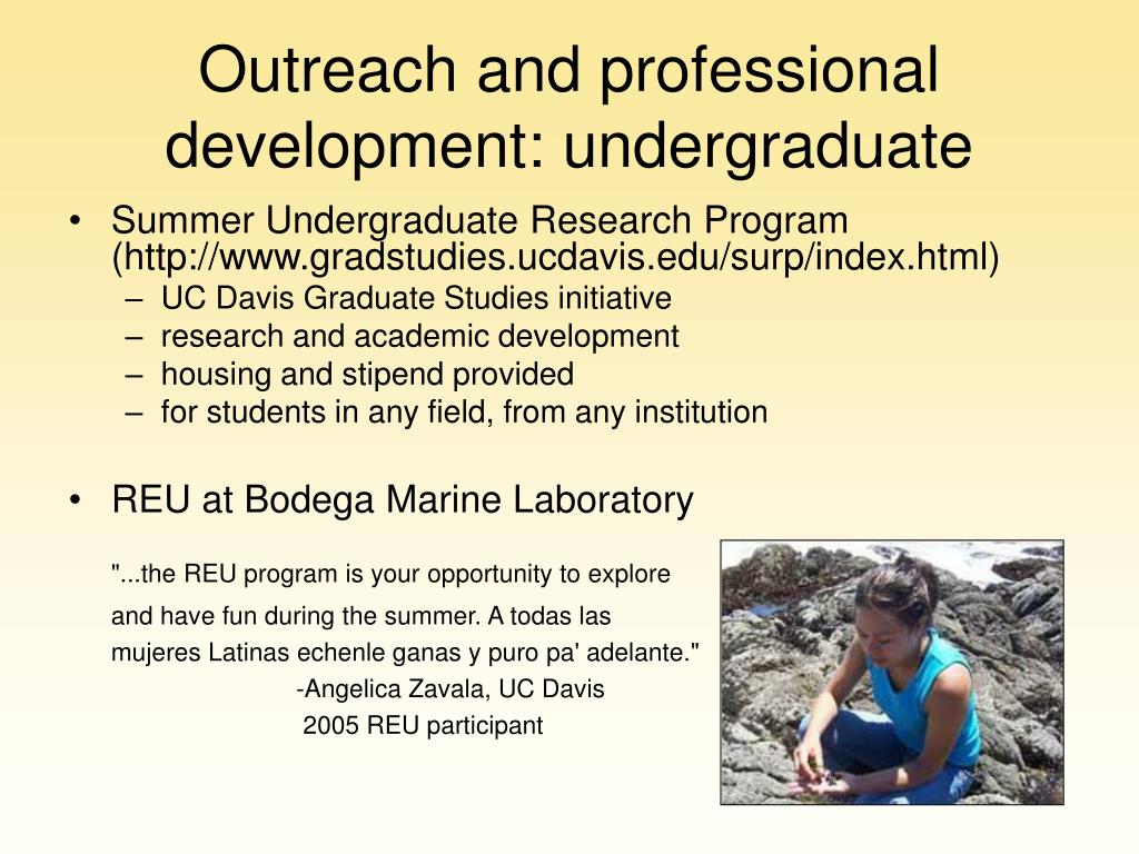 Outreach and professional development: undergraduate