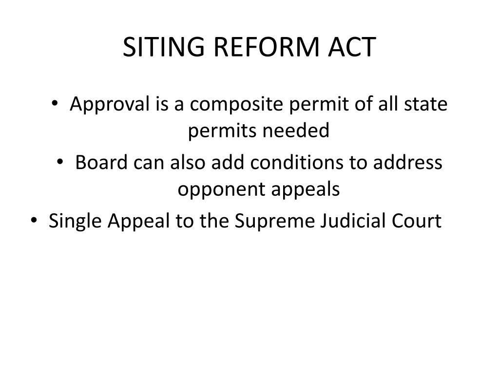 SITING REFORM ACT