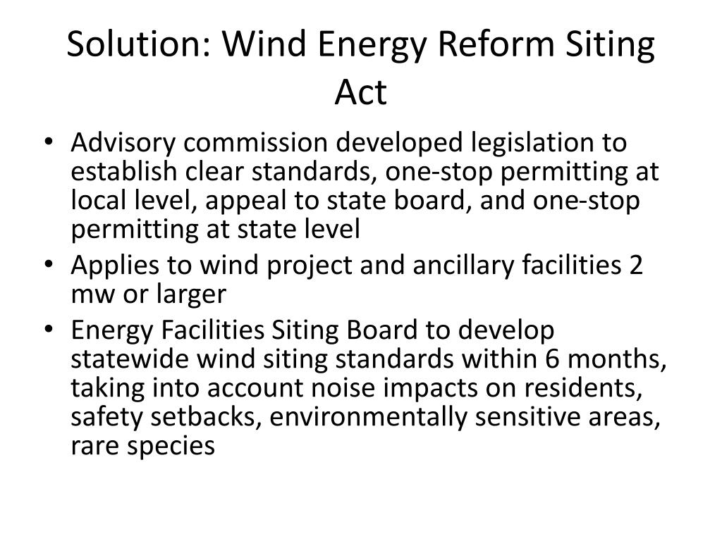 Solution: Wind Energy Reform