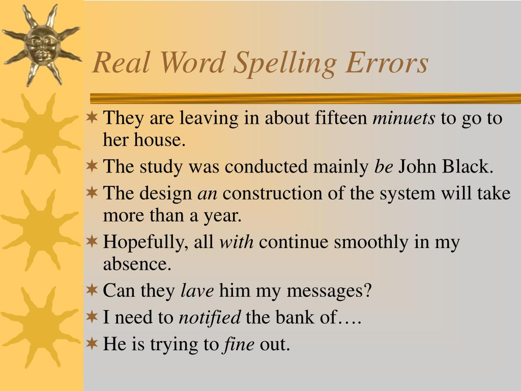 Real Word Spelling Errors