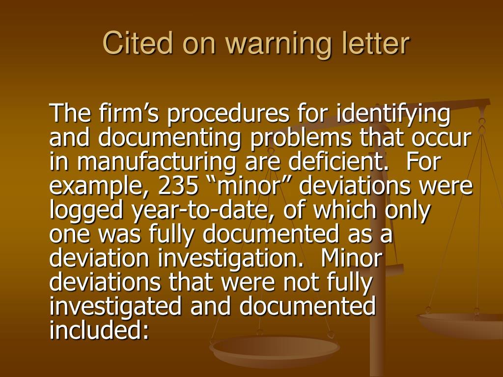 Cited on warning letter