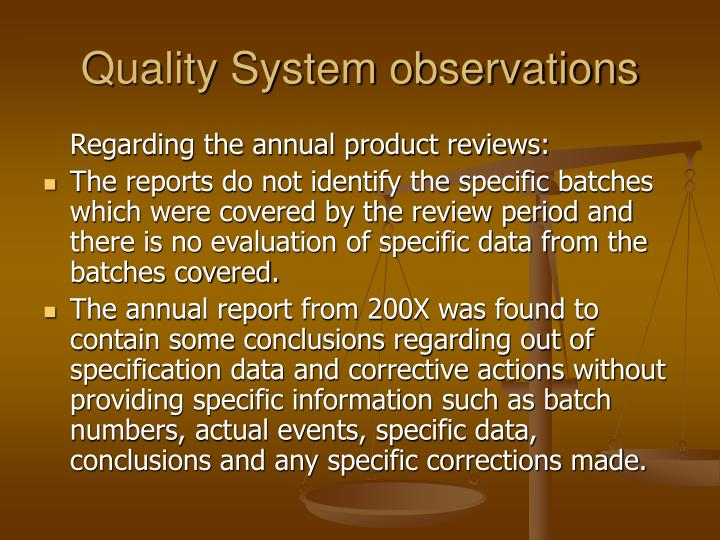 Quality system observations3