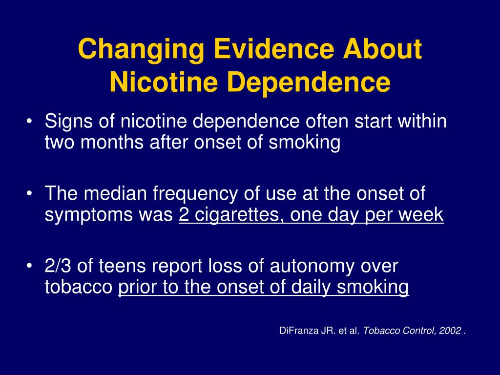 Changing Evidence About Nicotine Dependence