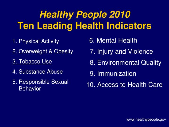 Healthy people 2010 ten leading health indicators