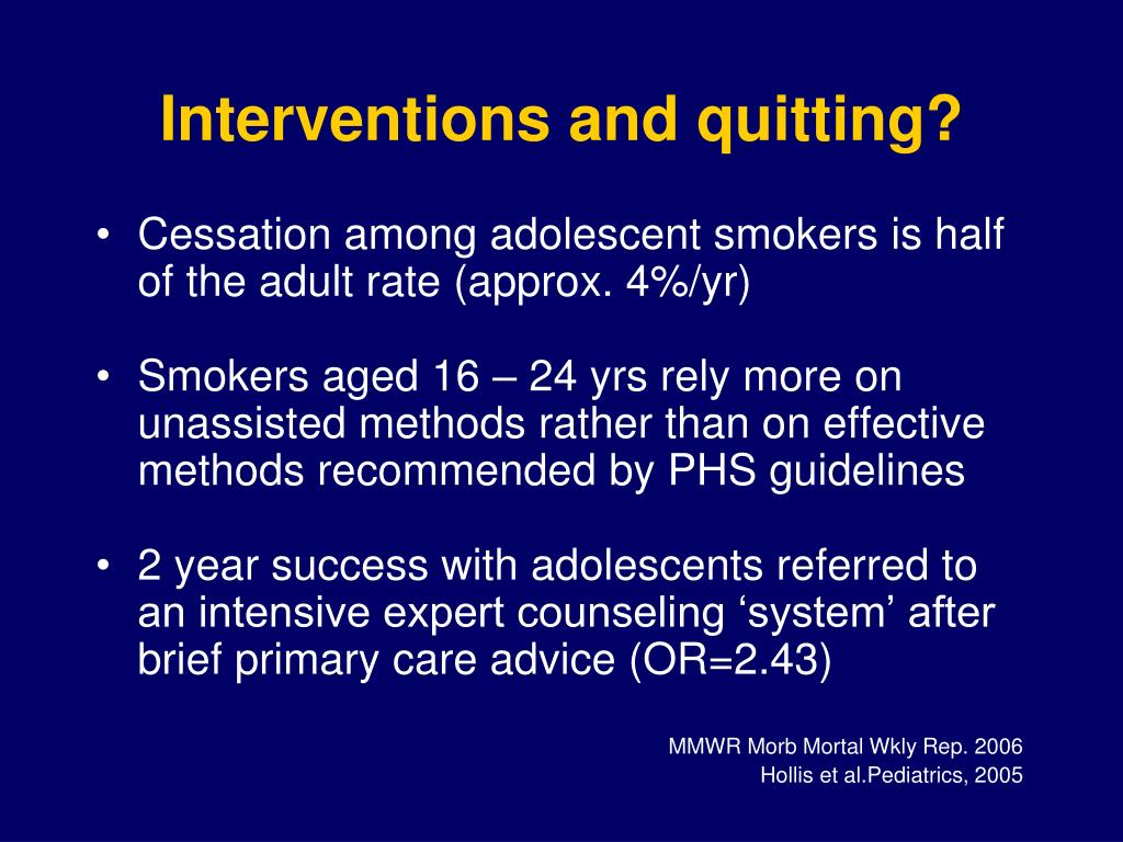 Interventions and quitting?