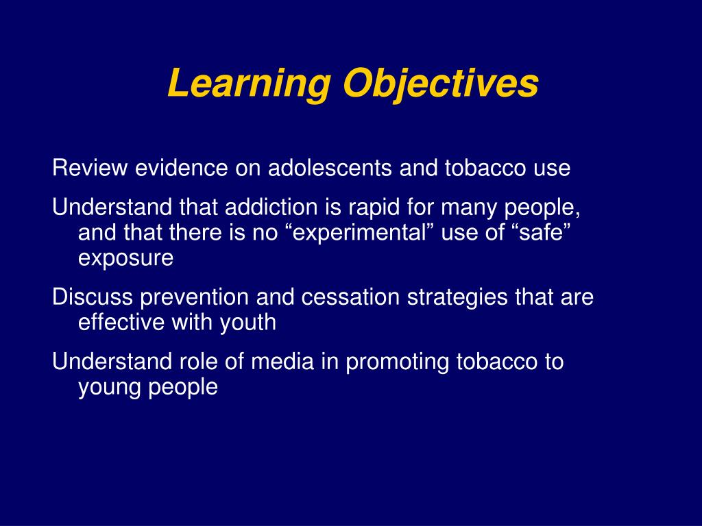 Review evidence on adolescents and tobacco use