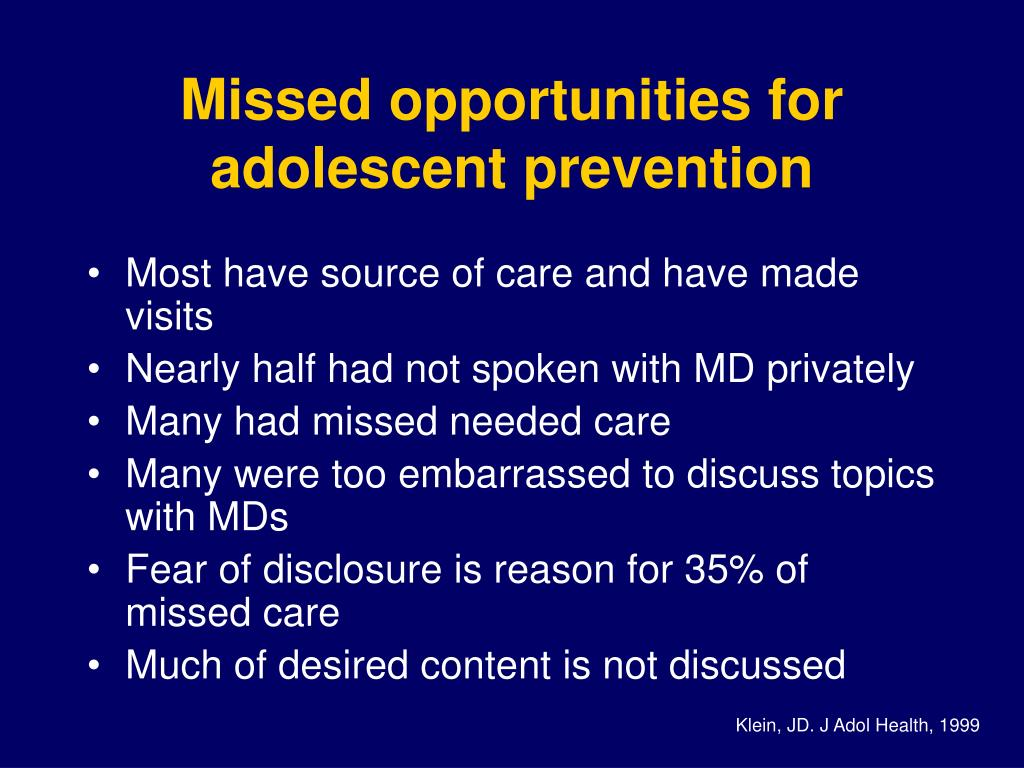 Missed opportunities for adolescent prevention