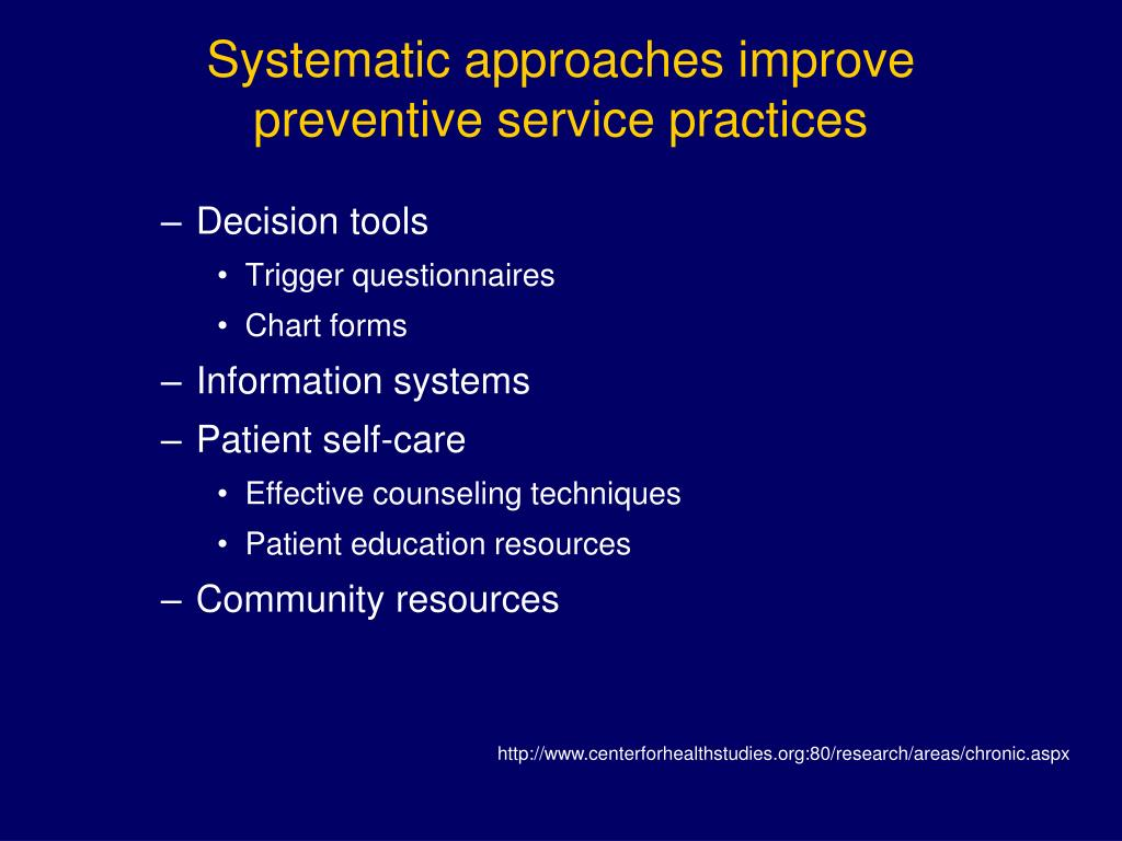 Systematic approaches improve preventive service practices