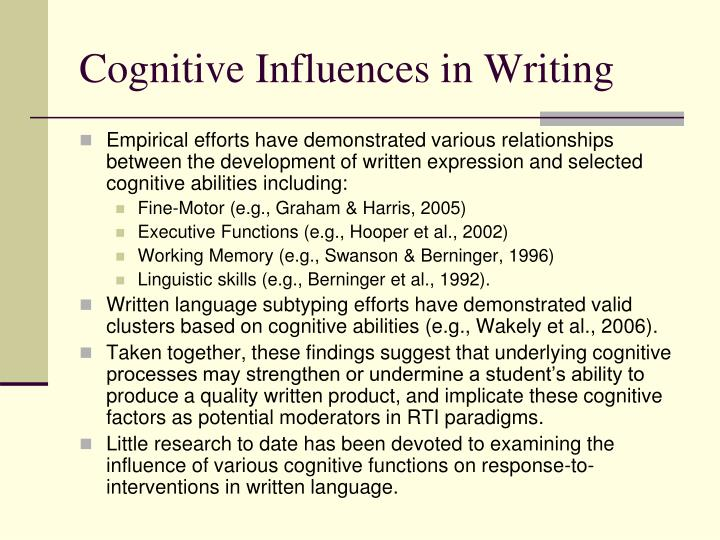 Cognitive influences in writing