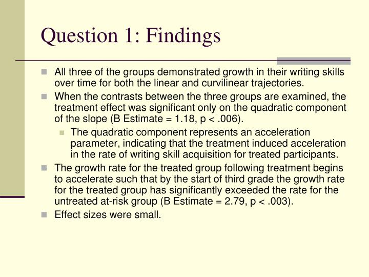 Question 1: Findings