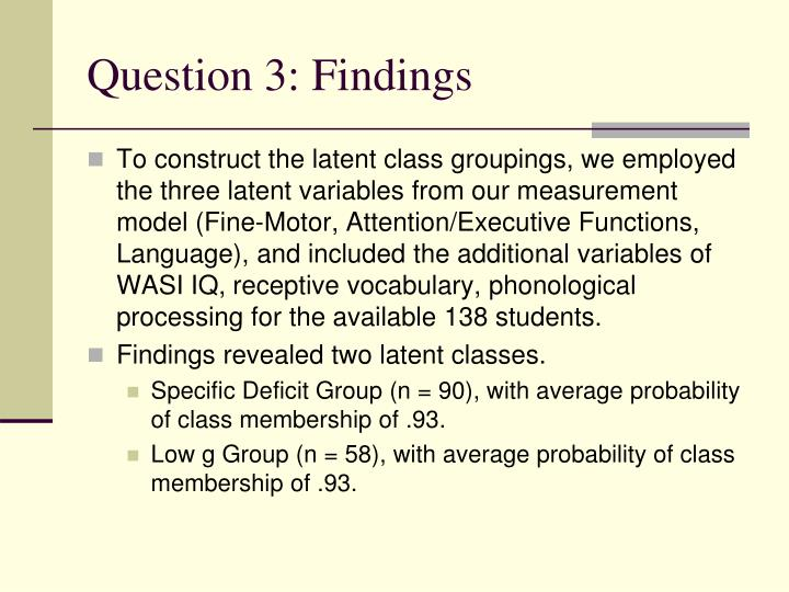 Question 3: Findings