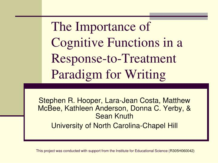 The importance of cognitive functions in a response to treatment paradigm for writing