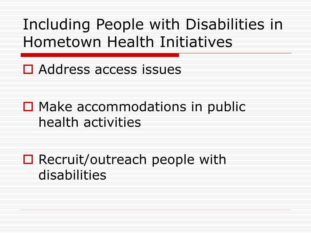 Including People with Disabilities in Hometown Health Initiatives
