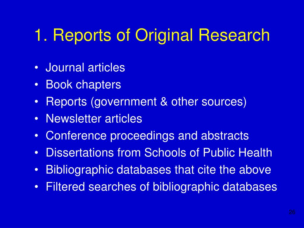 1. Reports of Original Research