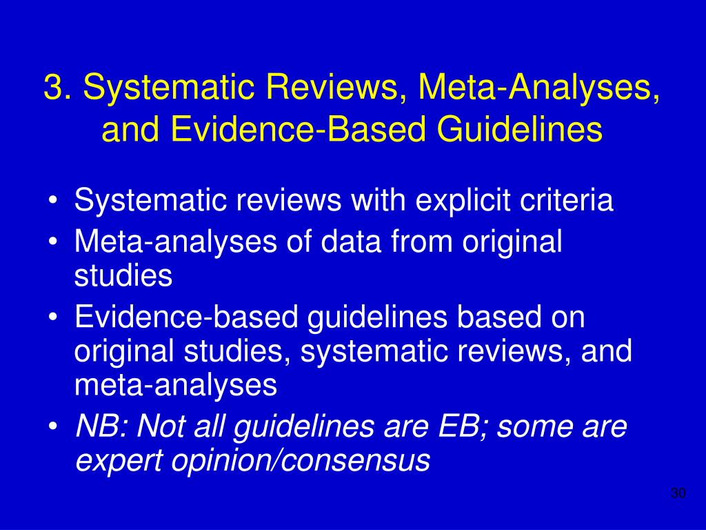 3. Systematic Reviews, Meta-Analyses, and Evidence-Based Guidelines