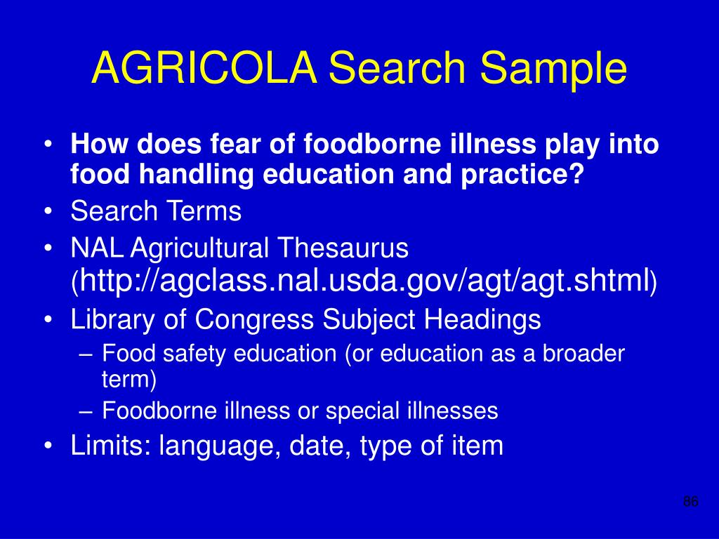 AGRICOLA Search Sample