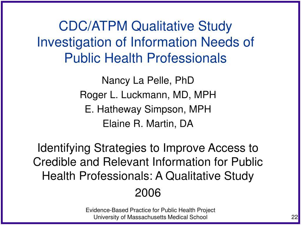 CDC/ATPM Qualitative Study
