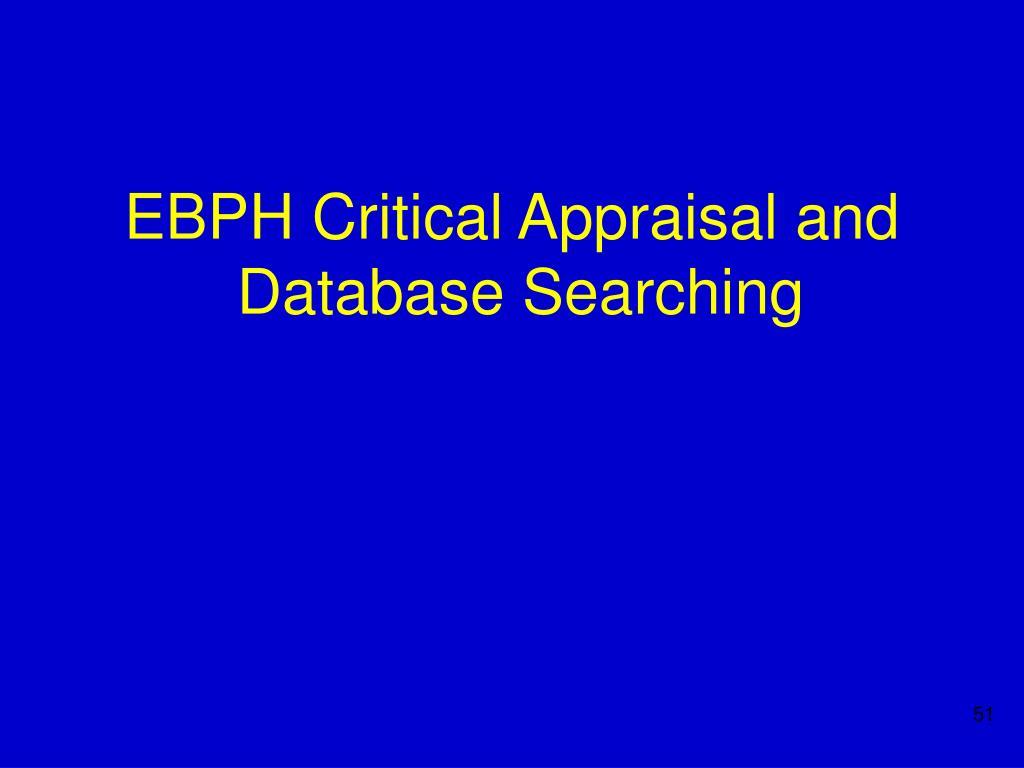 EBPH Critical Appraisal and