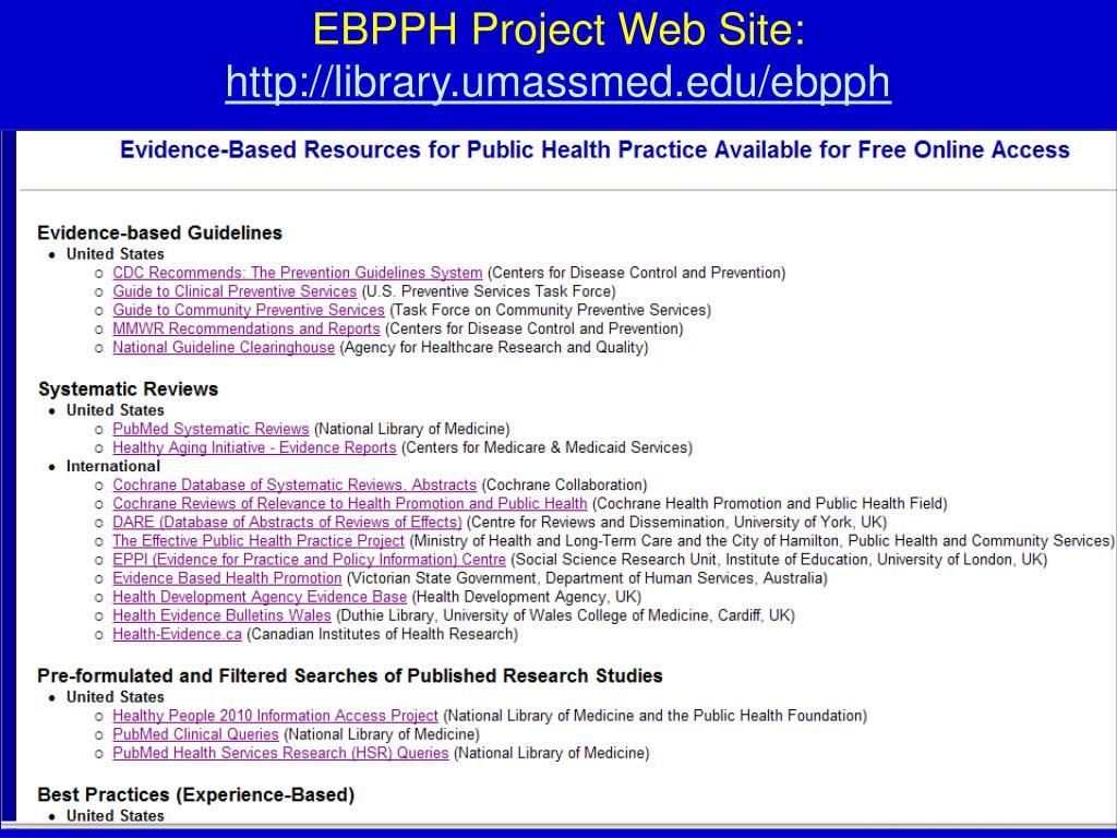 EBPPH Project Web Site: