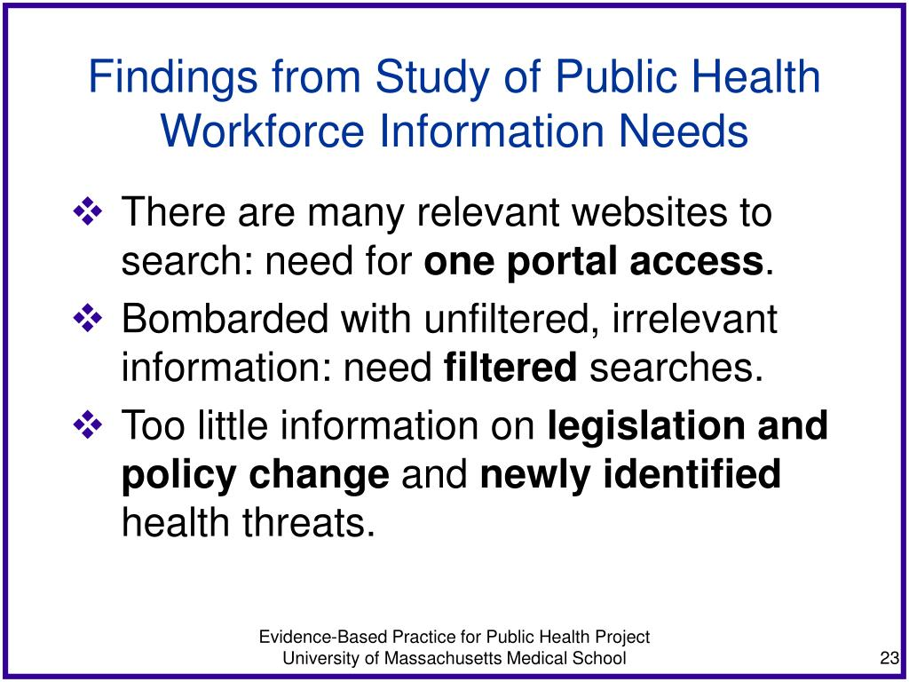 Findings from Study of Public Health Workforce Information Needs